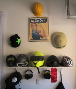 Roller Derby, Hard Hat, Pith Helmet, Paintball Mask, Ski Helmet, Motorcycle Helmet, Horseback Riding Helmet, Bicycle Helmet, plus assorted shooting gear